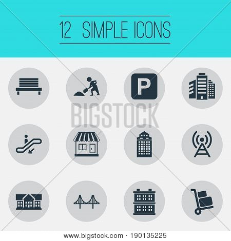 Vector Illustration Set Of Simple Architecture Icons. Elements School, Skyscraper, Connection And Other Synonyms Direction, Awning And Park.