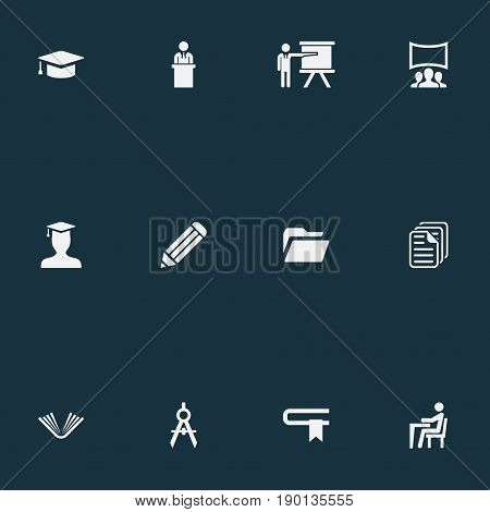 Vector Illustration Set Of Simple Speaker Icons. Elements Architect Drafting, Literature, Student And Other Synonyms Education, Presentation And Employee.