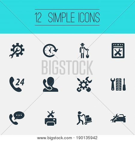 Vector Illustration Set Of Simple Service Icons. Elements Assistance, Farmer With Shovel, Period And Other Synonyms Operator, Car And Farming.