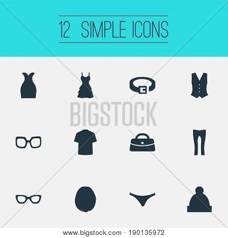 Vector Illustration Set Of Simple Clothes Icons. Elements Ski Hat, Eyeglasses, Attire And Other Synonyms Leggings, Panties And Attire.