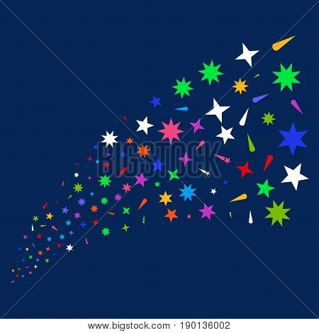 Source stream of confetti stars symbols. Vector illustration style is flat bright multicolored confetti stars iconic symbols on a blue background. Object stream done from random design elements.