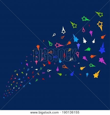 Source stream of confetti stars icons. Vector illustration style is flat bright multicolored confetti stars iconic symbols on a blue background. Object salute combined from confetti design elements.