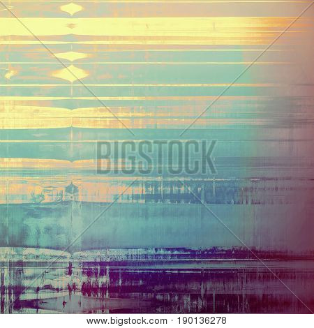 Colorful vintage background, grunge texture with scratches, stains and different color patterns: blue; yellow (beige); brown; gray; purple (violet); pink