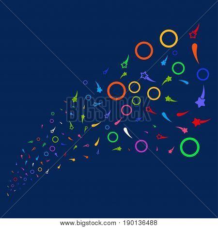 Source of confetti stars symbols. Vector illustration style is flat bright multicolored confetti stars iconic symbols on a blue background. Object fountain made from confetti design elements.