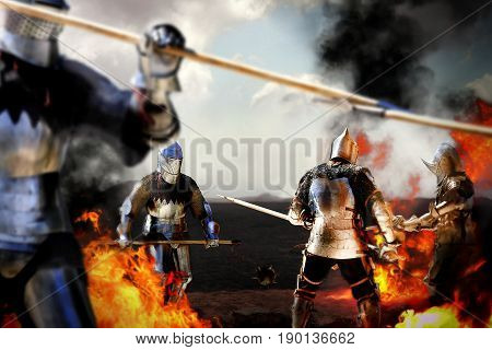 templar knights are fighting in medieval battlefield