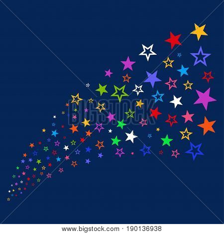 Source stream of decoration stars icons. Vector illustration style is flat bright multicolored decoration stars iconic symbols on a blue background. Object source made from confetti pictograms.