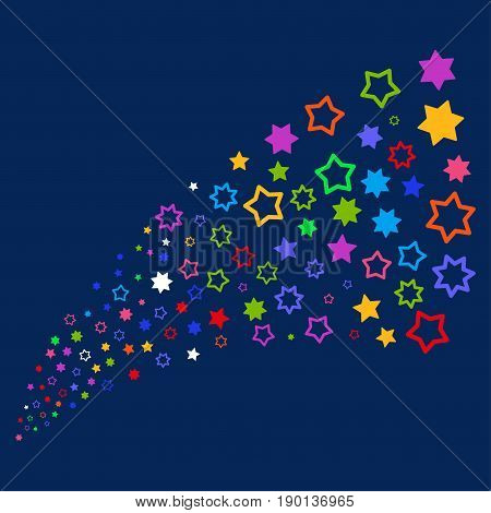 Source stream of decoration stars icons. Vector illustration style is flat bright multicolored decoration stars iconic symbols on a blue background. Object stream done from confetti pictographs.