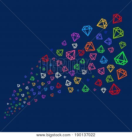 Fountain of diamond icons. Vector illustration style is flat bright multicolored diamond iconic symbols on a blue background. Object salute created from confetti symbols.