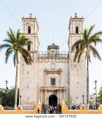 Valladolid, Mexico - April 2, 2017: Cathedral of San Gervasio in Valladolid, Yucatan, Mexico