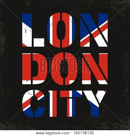 London City Typography. Great Britain Flag For T-shirt Print. T-shirt Graphics