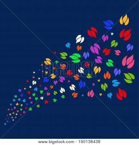 Source stream of fire icons. Vector illustration style is flat bright multicolored fire iconic symbols on a blue background. Object source constructed from random symbols.
