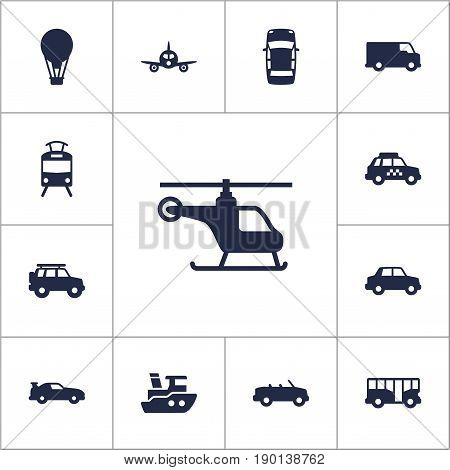 Set Of 13 Traffic Icons Set.Collection Of Taxicab, Airship, Coupe And Other Elements.