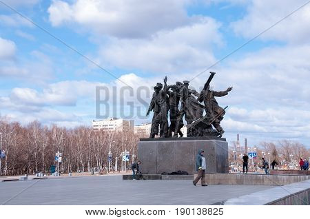 Russia Komsomolsk-on-Amur April 21: Monument to the first builders of Komsomolsk-on-Amur
