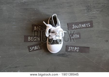 Big journeys begin with small steps - motivational quote