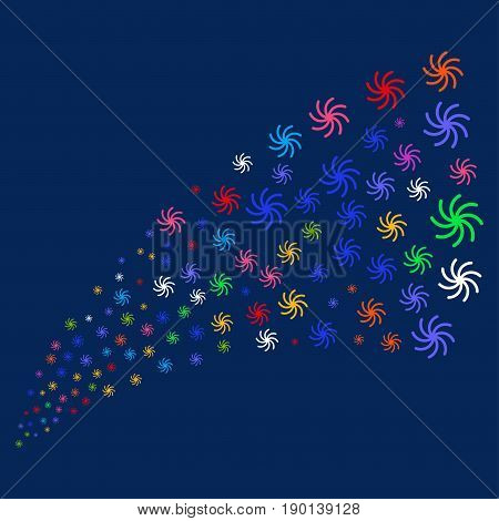 Source of galaxy symbols. Vector illustration style is flat bright multicolored galaxy iconic symbols on a blue background. Object source organized from scattered design elements.