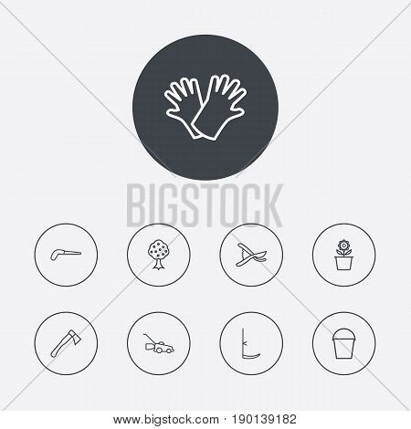Set Of 9 Household Outline Icons Set.Collection Of Arm-Cutter, Secateurs, Scythe And Other Elements.