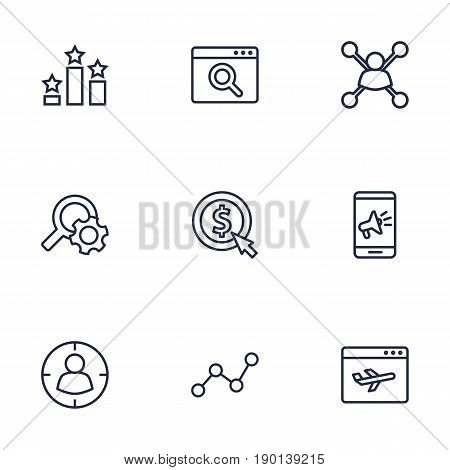 Set Of 9 Search Outline Icons Set.Collection Of Cost Per, Targeting, Scan And Other Elements.