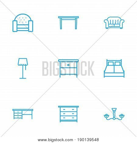 Set Of 9 Decor Outline Icons Set.Collection Of Floor Lapm, Chandelier, Nightstand Elements.