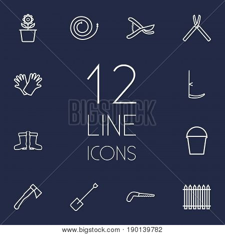 Set Of 12 Household Outline Icons Set.Collection Of Safer Of Hand , Scythe, Firehose Elements.