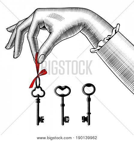 Woman's hand with old keys. Retro style unlock sign and icon. Vintage engraving stylized drawing