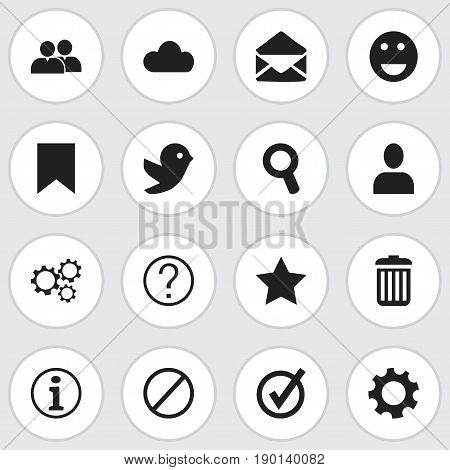 Set Of 16 Editable Network Icons. Includes Symbols Such As Settings, Tag, Group And More. Can Be Used For Web, Mobile, UI And Infographic Design.