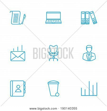 Set Of 9 Bureau Outline Icons Set.Collection Of Document Case, Workplace, Administrator And Other Elements.