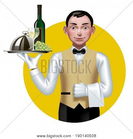 Young waiter with a tray in a yellow circle. Restaurant and bar service icon and concept design