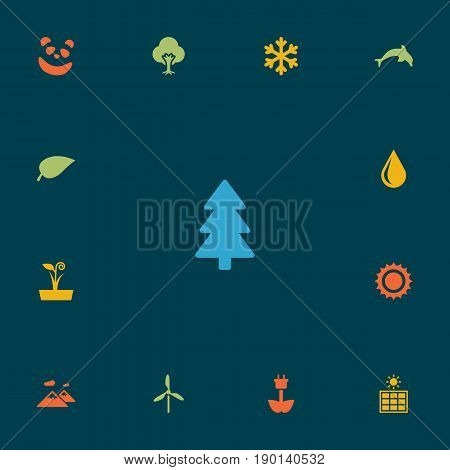 Set Of 13 Natural Icons Set.Collection Of Winter Snow, Blob, Wind Energy And Other Elements.