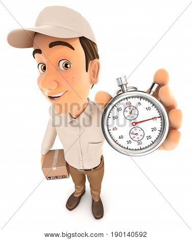 3d delivery man holding stopwatch illustration with isolated white background