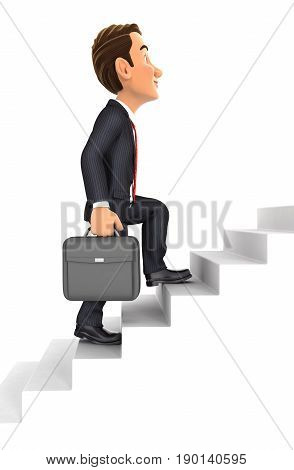 3d businessman going upstairs illustration with isolated white background