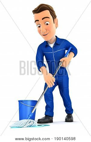 3d mechanic cleaning the floor illustration with isolated white background