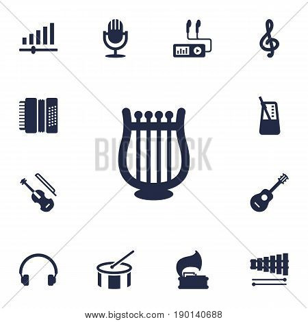 Set Of 13 Song Icons Set.Collection Of Tambourine, Rhythm Motion, Lyre And Other Elements.
