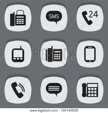 Set Of 9 Editable Gadget Icons. Includes Symbols Such As Transceiver, Message, Office Telephone And More. Can Be Used For Web, Mobile, UI And Infographic Design.