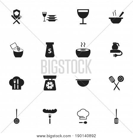 Set Of 16 Editable Cook Icons. Includes Symbols Such As Electric Kettle, Cooking, Strainer And More. Can Be Used For Web, Mobile, UI And Infographic Design.
