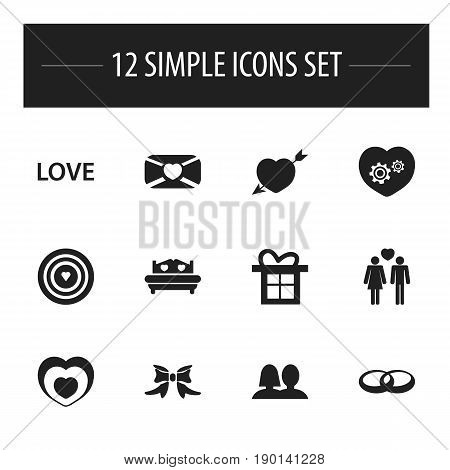 Set Of 12 Editable Amour Icons. Includes Symbols Such As Beloveds, Gift, Passion And More. Can Be Used For Web, Mobile, UI And Infographic Design.