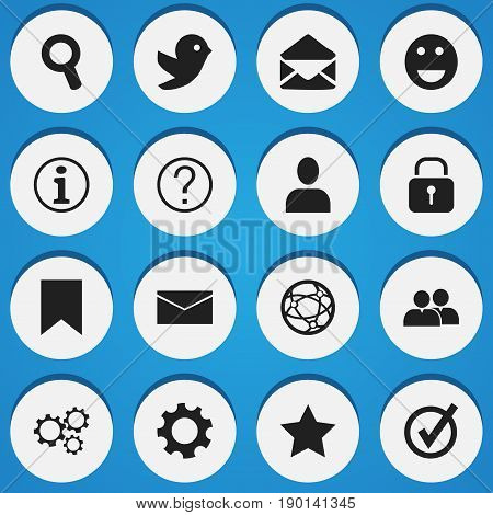 Set Of 16 Editable  Icons. Includes Symbols Such As Magnifier, Emoji, Faq And More. Can Be Used For Web, Mobile, UI And Infographic Design.
