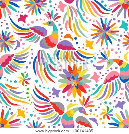 Mexican embroidery seamless pattern. Colorful and ornate ethnic pattern. Birds and flowers light background. Floral background with bright ethnic ornament.