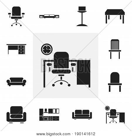 Set Of 12 Editable Furnishings Icons. Includes Symbols Such As Canape, Office, Lectern And More. Can Be Used For Web, Mobile, UI And Infographic Design.