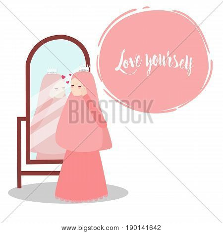 woman wearing veil scarf looking to mirror wearing clothes muslim islam vector