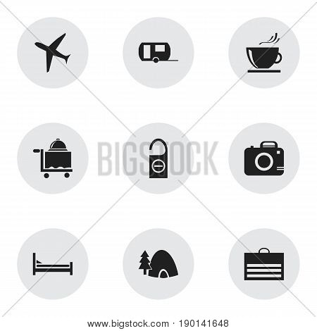 Set Of 9 Editable Journey Icons. Includes Symbols Such As Tabernacle, Trading Purse, Aircraft And More. Can Be Used For Web, Mobile, UI And Infographic Design.