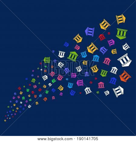 Source of library building symbols. Vector illustration style is flat bright multicolored library building iconic symbols on a blue background. Object salute organized from random pictographs.