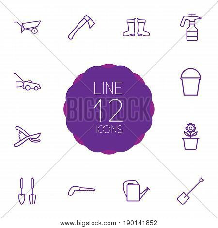 Set Of 12 Household Outline Icons Set.Collection Of Plant Pot, Bailer, Atomizer And Other Elements.