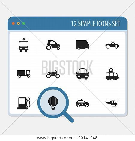 Set Of 12 Editable Shipment Icons. Includes Symbols Such As Automotive, Transportation, Fuel And More. Can Be Used For Web, Mobile, UI And Infographic Design.