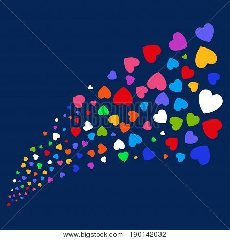 Source stream of love heart icons. Vector illustration style is flat bright multicolored love heart iconic symbols on a blue background. Object stream constructed from confetti design elements.