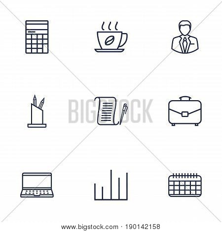 Set Of 9 Bureau Outline Icons Set.Collection Of Chart, Hot Drink, Administrator And Other Elements.