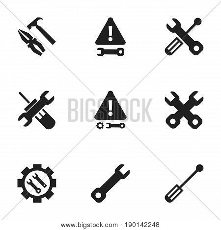 Set Of 9 Editable Tool Icons. Includes Symbols Such As Warning, Caution, Pliers Hammer And More. Can Be Used For Web, Mobile, UI And Infographic Design.