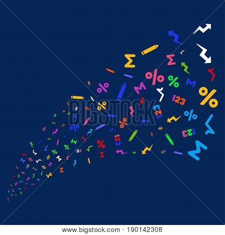 Source of math symbols. Vector illustration style is flat bright multicolored math symbols iconic symbols on a blue background. Object salute done from confetti icons.