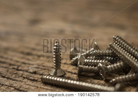 silver screw on wooden background close up.
