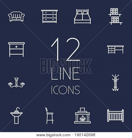 Set Of 12 Situation Outline Icons Set.Collection Of Nightstand, Hanger, Washbasin Elements.