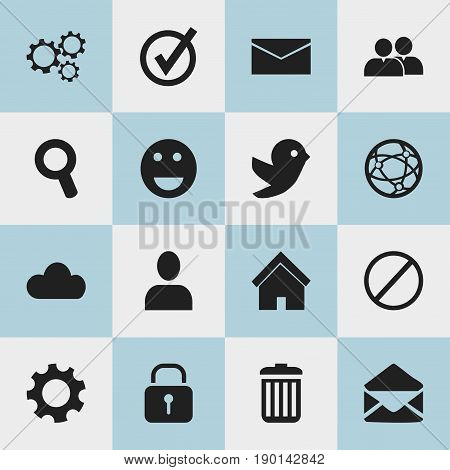 Set Of 16 Editable Network Icons. Includes Symbols Such As Magnifier, Letter, Group And More. Can Be Used For Web, Mobile, UI And Infographic Design.